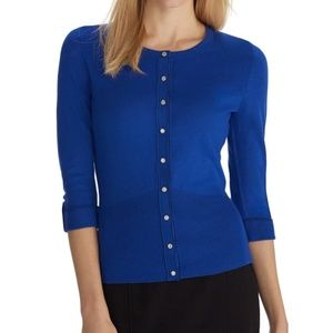 WHBM 3/4 Sleeve Snap Front Cardigan in Rivera